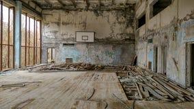 Sportkorridor i Pripyat Arkivbild