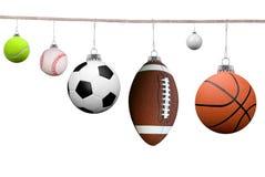Sportkugeln auf einer Wäscheleine Lizenzfreies Stockbild