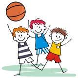 Sportlag, tre lyckliga ungar, basket, vektorsymbol Royaltyfri Fotografi