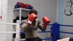 Sportler-kaukasisches Boxer-Partner-Kampf-Training stock footage