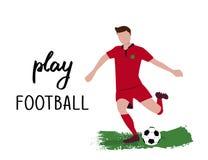 Sportler mit dem Ball mit dem Phrase Spiel-Fußball Gezeichnetes Vektordesign der Karikaturart Hand vektor abbildung