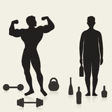 Sportler und Alkoholiker lizenzfreie abbildung