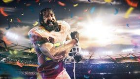 Sportlerspieler des amerikanischen Fu?balls auf Stadion in der Aktion stockfotografie