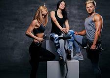 Sportliche blonde und Brunettefrauen und ein athletischer Mann über grauem Ba Stockbild