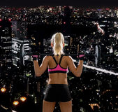 Sportliche Frau, die mit Barbell von der Rückseite trainiert Lizenzfreie Stockbilder