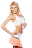 Sportliche Frau mit Wasserflasche Lizenzfreie Stockfotos