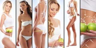 Sportliche Frauen in den Badeanzügen mit Früchten Stockbild