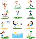 Sportliche Zeichentrickfilm-Figur-Zusammenstellung Stockbilder