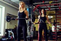 Sportlicher Brunette und blonde Frauen, die Übungen mit Barbell in einem Turnhallenclub tun Lizenzfreies Stockbild