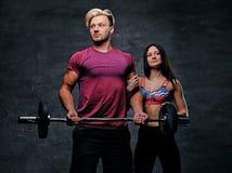 Sportlicher Mann hält Barbellgewicht und weibliches Modell O der dünnen Eignung Lizenzfreies Stockbild