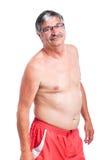 Sportlicher mit nacktem Oberkörper älterer Mann Stockfoto
