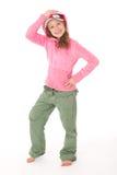 Sportliches Mädchen mit Schutzkappe ein und Haube Lizenzfreie Stockfotos