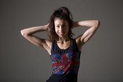 Sportliches Porträt der jungen Frau Stockbild