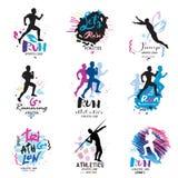 Sportlogo, Firmenzeichensport Laufen, Marathonlogo und Illustrationen stockfoto