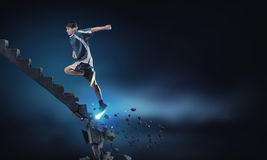 Sportman die uitdagingen overwinnen royalty-vrije stock foto