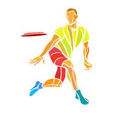 Sportman die uiteindelijke frisbee werpen Kleurenvector Stock Foto's