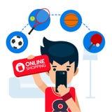 Sportman felice che tiene il segno e cellulare online di acquisto, ricerca ed attrezzatura di sport dell'affare Fotografia Stock