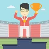 Sportman het vieren op het winnaarspodium Royalty-vrije Stock Foto's
