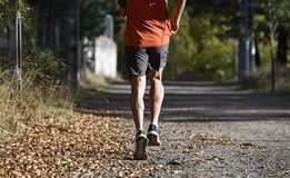 Sportman med rev sönder idrotts- och muskulösa ben som kör av vägen i jogga utbildningsgenomkörare på bygd i höstbakgrund arkivfoton