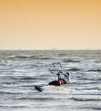 Sportman play kite surf Royalty Free Stock Photo