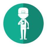Sportman tecken som använder smartphoneskugga stock illustrationer