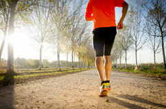 Sportmann mit dem starken Kalbmuskel, der draußen in weg von Straßenhinterbahn läuft Stockbild