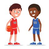 Sportmannen die basketbal spelen stock illustratie