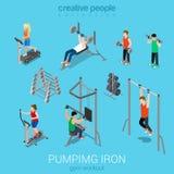 Sportmannen die ijzer en oefening in de reeks van het gymnastiekpictogram pompen Royalty-vrije Stock Foto's