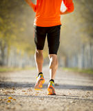 Sportmannen med rinnande det fria för stark kalvmuskel i av vägslinga grundar med träd under härligt höstsolljus Arkivfoto