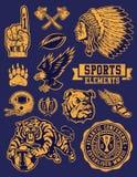 Sportmaskot och Logo Vector Set Arkivbilder