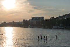 Sportmen στον ποταμό Δούναβη κατά τη διάρκεια του ηλιοβασιλέματος στοκ εικόνα