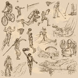 Sportmengeling - een hand getrokken vectorinzameling Stock Fotografie