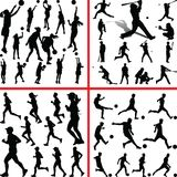 Sportmix женщины баскетбол, бейсбол, футбол, бегун Иллюстрация штока