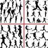 Sportmix Frauen Basketball, Baseball, Fußball, Läufer Lizenzfreie Stockfotos