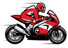 Sportmotorradrennläufer, der schnell reitet lizenzfreie stockfotos