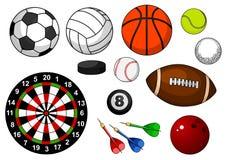 Sportobjekt med bollar, pucken och pilar Royaltyfria Foton