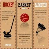 Sportobjekt på papper Uppsättning av separata etiketter för tappningsport Royaltyfri Bild