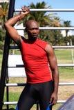 Sportowa ćwiczenia pobliski wyposażenie w jawnym parku Obrazy Royalty Free