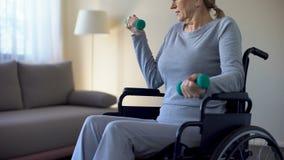 Sportowa babcia w wózków inwalidzkich podnośnych dumbbells w domu, utrzymujący napad, sport zdjęcie wideo