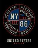 Sportowa Brooklyn koszulki grafika, Wektorowy wizerunek Fotografia Royalty Free