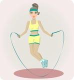 Sportowa dziewczyna z omija arkaną Ilustracji