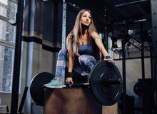 Sportowa sprawności fizycznej kobieta jest ubranym sportswear pozuje na stojaku z barbell w gym obraz royalty free