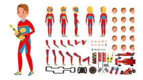 Sportowego Samochodu setkarza samiec wektor Rewolucjonistka mundur Zlotny samochodu wyścigowego kierowca animowany charakteru two ilustracji