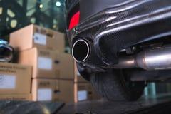 Sportowego samochodu węgla włókna wydmuchowa drymba Fotografia Stock