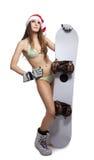 sportowi kapeluszowi Santa snowboard kobiety potomstwa Zdjęcie Royalty Free