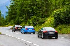 Sportowi samochody BMW F30, BMW F80 M3 i Audi TT 3 serii, Obraz Royalty Free