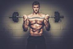 Sportowy mężczyzna robi ćwiczeniom z barbell w Gym studiu zdjęcia royalty free