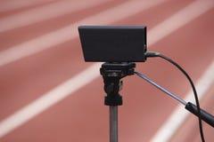 Sportowy mety fotoelektrycznej komórki kontrolny przyrząd i runni Obraz Stock