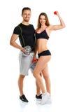Sportpaar - man en vrouw met domoren op het wit Royalty-vrije Stock Fotografie