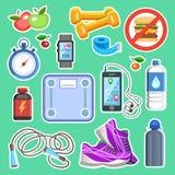 Sportpictogrammen of fitness uitrustingselementen Sportconcept, vector Stock Foto